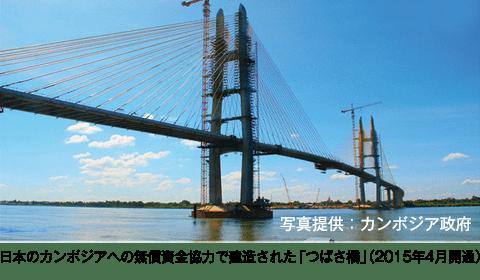 日本のカンボジアへの無償資金協力で建造された「つばさ橋」(2015年4月開通)/写真提供:カンボジア政府